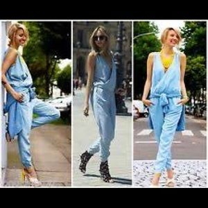 ZARA Denim Chambray Wrap Front Jumpsuit